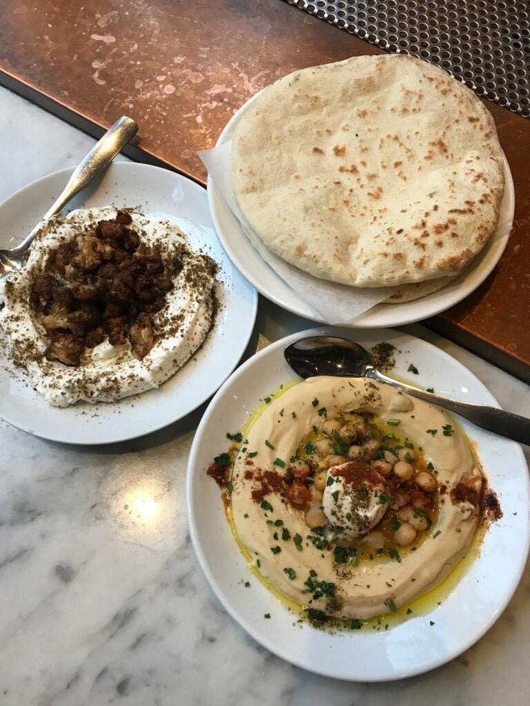 hummus labneh pita at Shalom Y'all in Portland Oregon