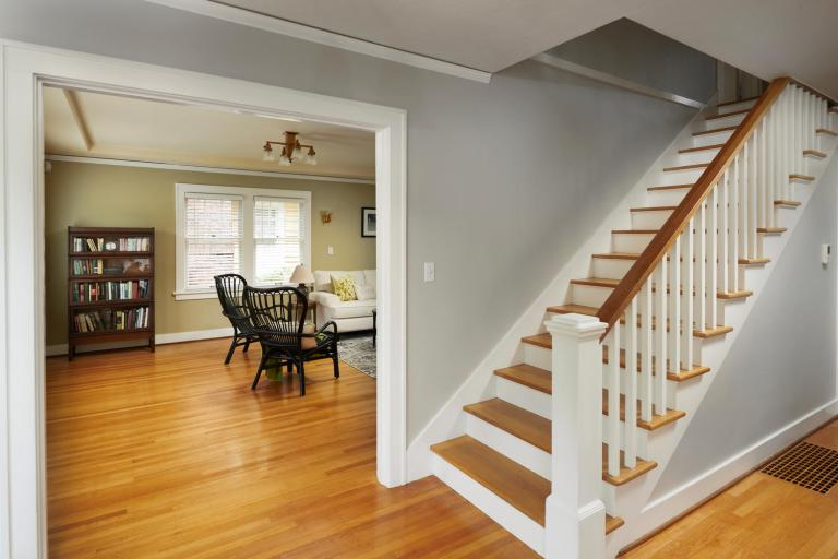 Wood staircase Colonial home Portland Oregon for sale