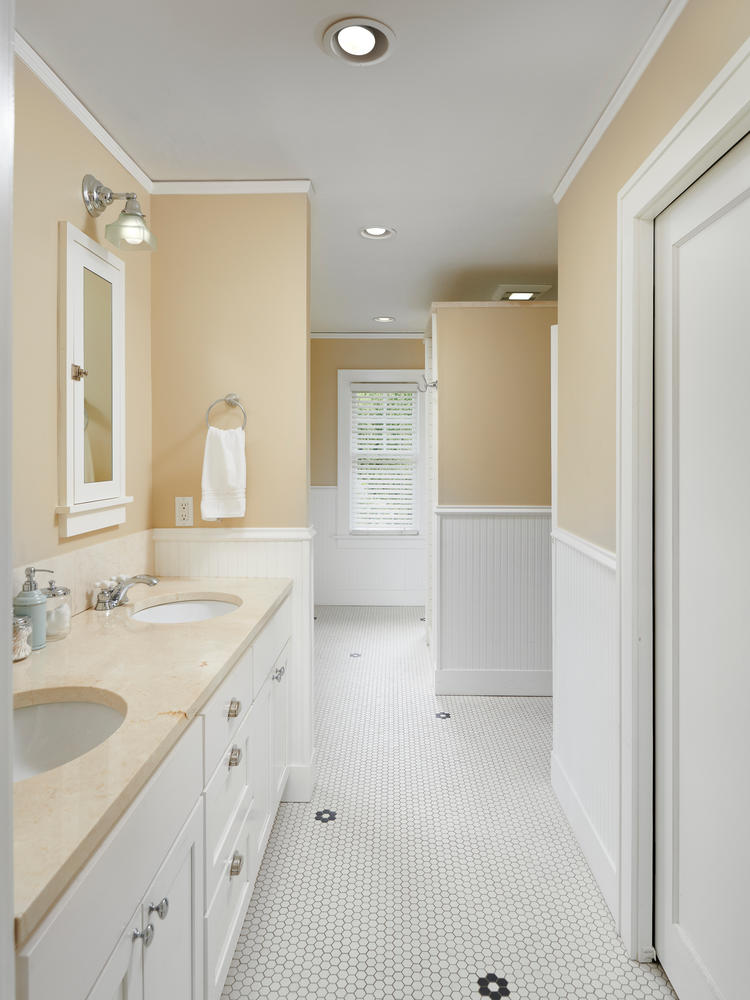 Master bathroom tile floor double vanity home for sale Portland Oregon