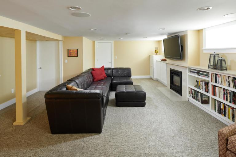 Basement den with gas fireplace home for sale Portland Oregon