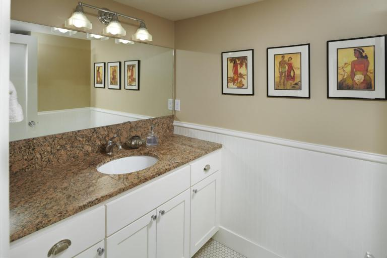 Bathroom with undermount sink lowel level basement home for sale Portland Oregon