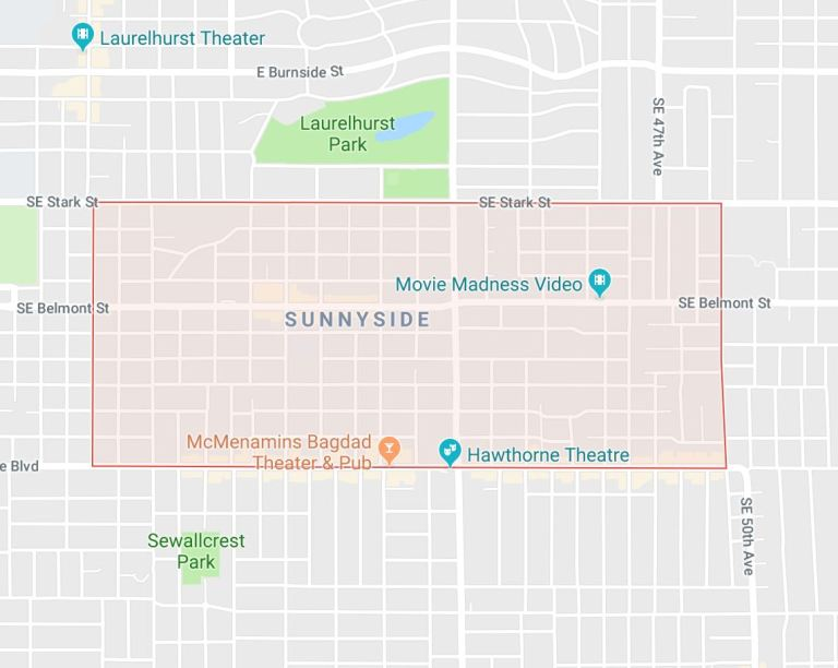 Map of Sunnyside Portland Oregon