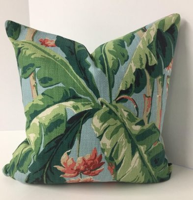 Tropical Leaf and Floral Decorative Pillow Cover in Braemore's Banana Grove Fabric