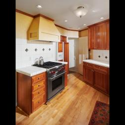 Kitchen stove wood floors