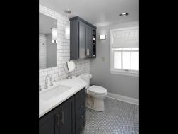 bathroom with oyster tiles modern cool colors clean