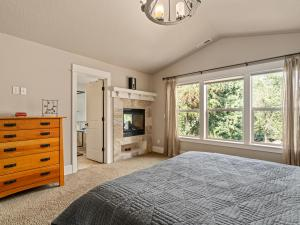 Master suite with views and dual fireplace