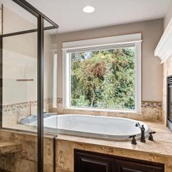 Master suite with views and dual fireplace, jacuzzi tub