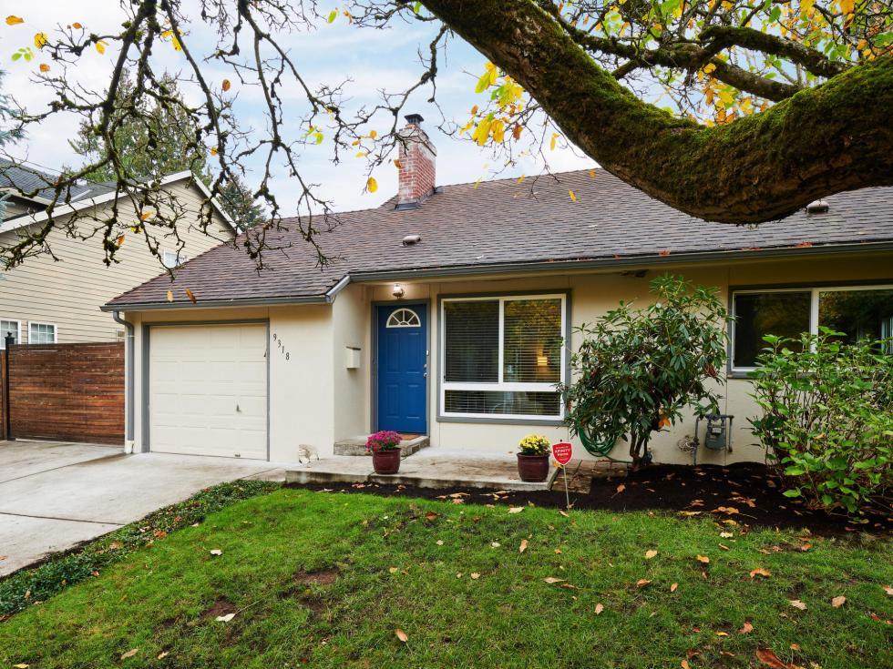 Exterior house blue door St Johns Portland Oregon green lawn