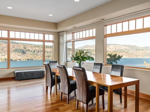 Views of Columbia River from dining room of condo in Hood River