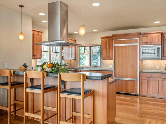 Kitchen interior wood finishes