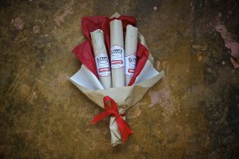 Salami bouquet from Olympia Provisions in Portland Oregon