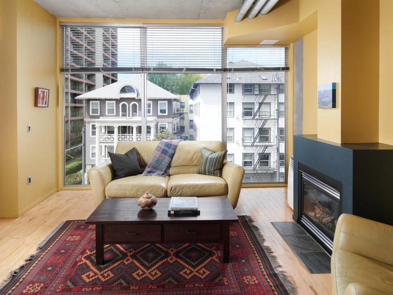 Interior Mosaic condo for sale downtown PDX floor to ceiling windows