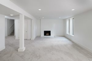 Lower level with fireplace Midcentury remodeled home SE Portland