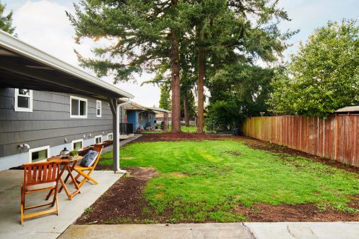 Midcentury ranch home SE Portland exterior backyard