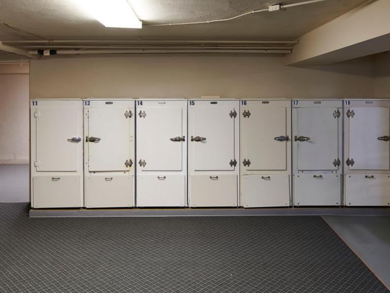 Storage locker in shared basement w/ laundry.