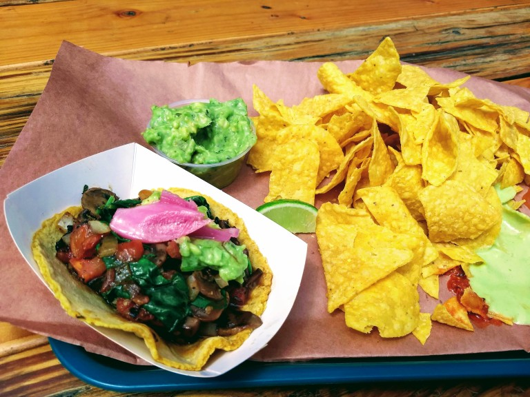 muchroom taco and chips and guacamole at Matt's BBQ Tacos in Southeast Portland