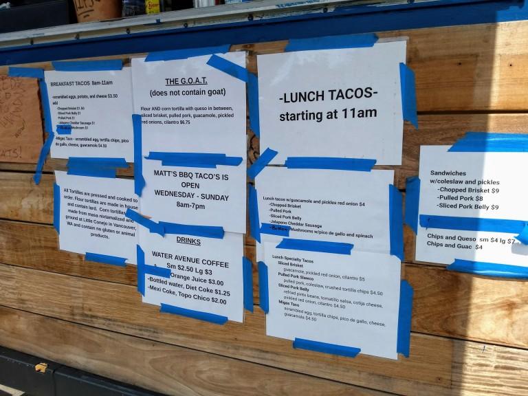 Matt's BBQ Taco menu in Southeast Portland