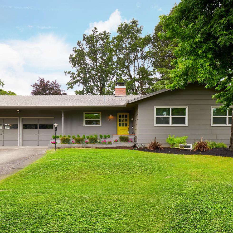 House exterior Westlake Lake Oswego Portland green grad front yard house for sale