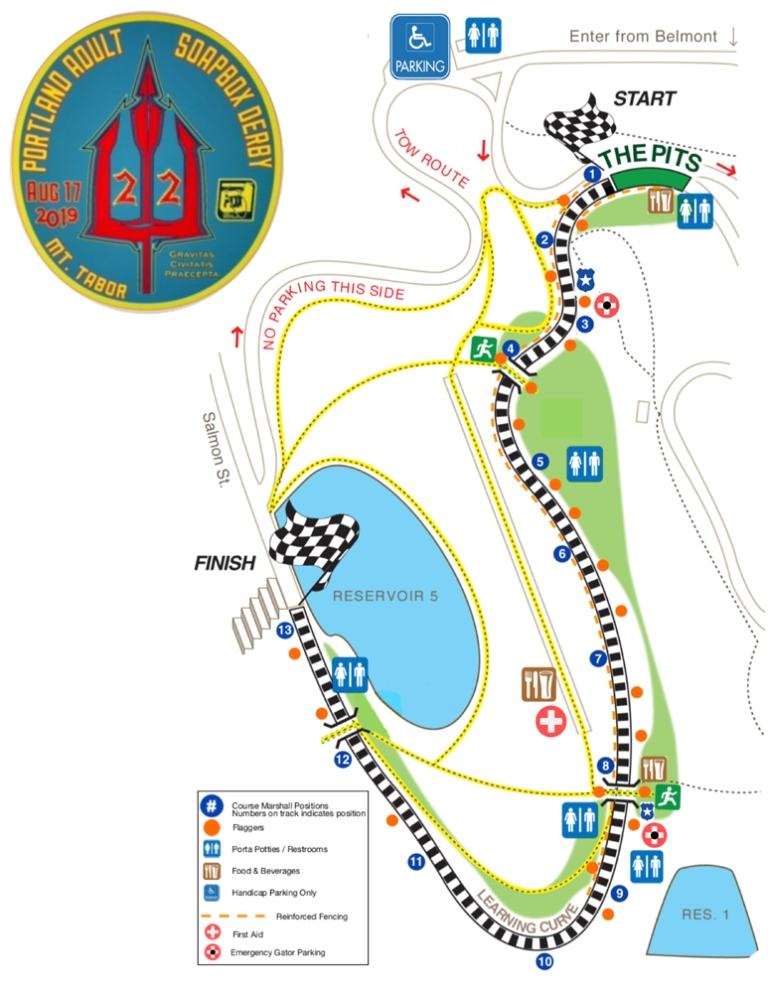 Mt Tabor map of Portland Adult Soap Box Derby
