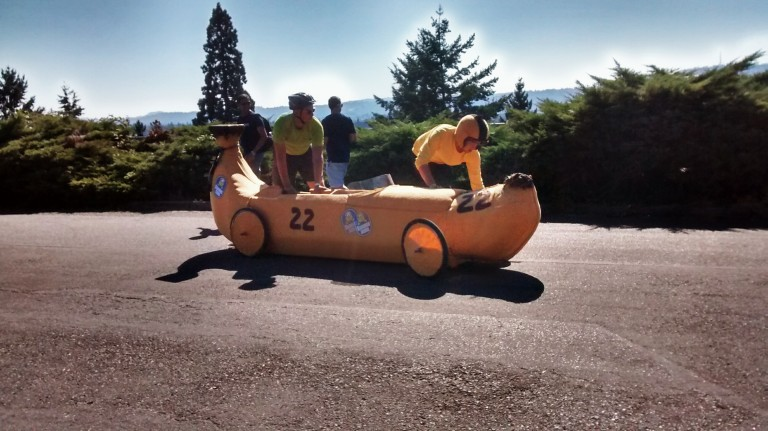 Portland Adult Soap Box Derby at Mt Tabor banana car