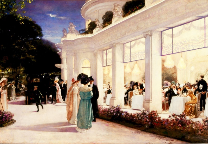 Paris 1900 at the Portland Art Museum painting of cafe at night by Gervex