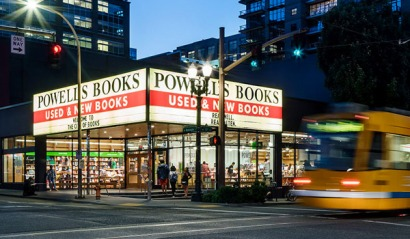 Powell's Books Marquee at night from powells.com