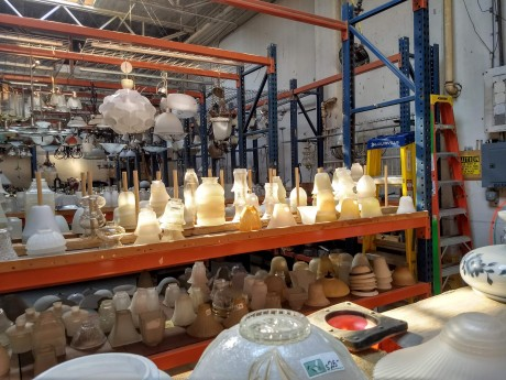 Stack of affordable lighting fixtures at the ReBuilding Center in Portland, Oregong