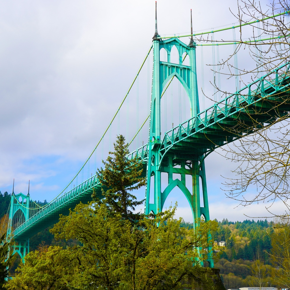 St. Johns Bridge as viewed from the east side of Portland