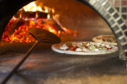 Pizza in the wood-fired oven from Otto's Pizzeria in Portland